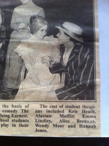Newspaper cutting from the Importance of Being Earnest, 1996